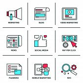 picture of promoter  - Flat line icons set of digital marketing online advertising process social media development pay per click internet promotion - JPG