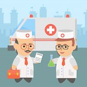 picture of placebo  - Medicine doctor ambulance character infographic health placebo - JPG