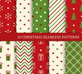 stock photo of dots  - 10 Christmas different seamless patterns - JPG