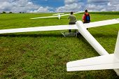 picture of glider  - Sailplane glider airplane wide angle shot on the airfield waiting for take - JPG