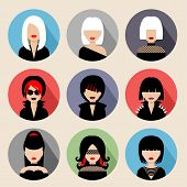 foto of emo  - Image of flat round icons with women of different species - JPG