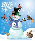 stock photo of crossbill  - Card with funny snowman and birds on blue snow background cartoons for winter Christmas or New Year design - JPG