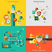 image of payment methods  - Finance flat icons set with payment methods financial security analytic business cooperation isolated vector illustration - JPG