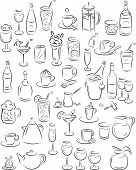 picture of hurricane clips  - vector illustration of beverage collection in black and white - JPG