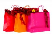 image of brighten  - Christmas shopping brightened isolated on white background - JPG
