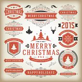 stock photo of xmas tree  - Christmas decoration vector design elements - JPG
