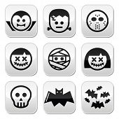 stock photo of halloween characters  - Vector buttons set of creepy or scary Halloween characters isolated on white - JPG