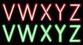 pic of neon green  - Vector Red and Green Neon alphabet - JPG