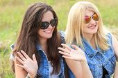 image of waving hands  - Blonde and brunette girls greeted waving their hands - JPG