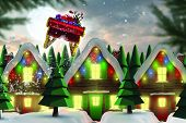 picture of quaint  - Santa flying his sleigh against quaint town with bright moon - JPG