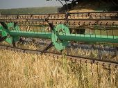 pic of combine  - Combine harvester harvesting wheat on summer day - JPG