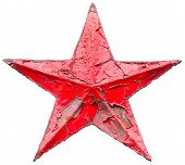 picture of iron star  - Iron socialist red star isolated on white background - JPG