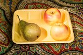 foto of picking tray  - Just picked from the trees of pear and Golden apples amazing freshness and promise pleasure of taste - JPG