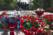 stock photo of guardsmen  - Flowers to the eternal fire at the memorial in Park of 28 - JPG