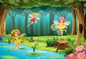 pic of fairies  - Illustration of fairies flying in the jungle - JPG