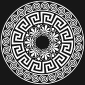 image of greek  - set Traditional vintage white round Greek ornament  - JPG