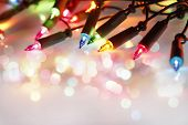 picture of glow  - Closeup of Christmas lights glowing  - JPG