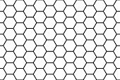 stock photo of hexagon pattern  - Abstract black and white honeycomb seamless pattern - JPG
