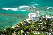 image of waikiki  - Aerial view of Honolulu and Waikiki beach from Diamond Head  - JPG
