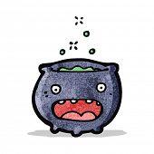stock photo of cauldron  - cartoon magic cauldron - JPG