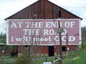 picture of barn house  - Western Pennsylvania Religous Barn House Sign Roadway - JPG