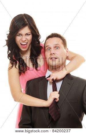 Woman Pulling Tie Of Man.