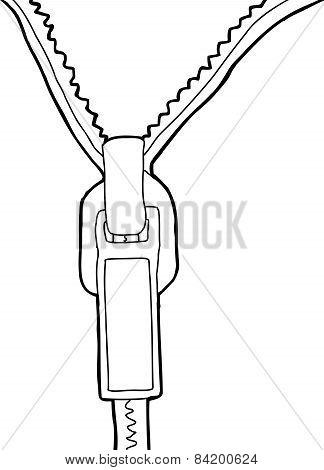 Outline Of Blank Open Zipper