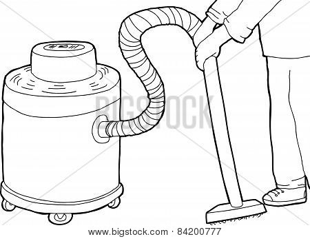 Outline Of Worker Using Vacuum