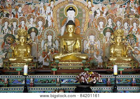 Buddha With Disciples And Decorative Painting