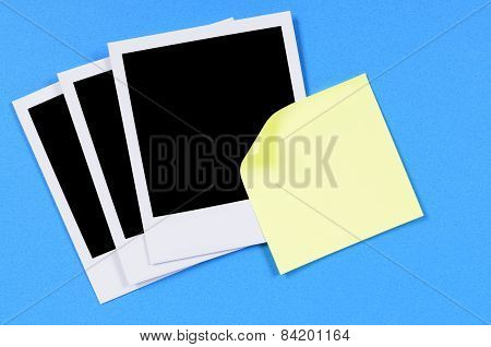 Blank Photo Prints With Yellow Sticky Note