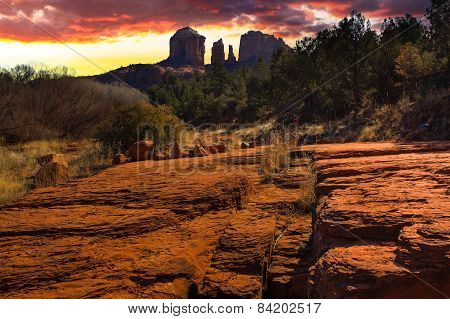 Sunset Image Of Cathedral Rock.