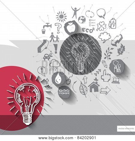 Paper and hand drawn lightbulb emblem with icons background