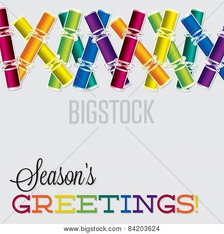Bright Christmas Cracker Card In Vector Format.