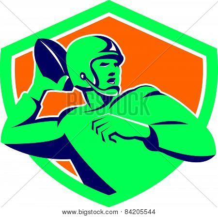 American Football Quarterback Qb Shield Retro