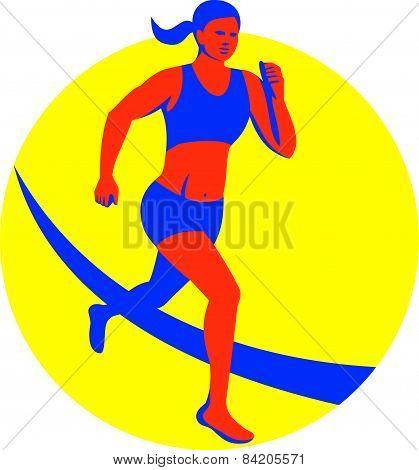 Female Triathlete Marathon Runner Retro
