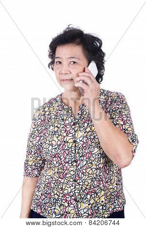 Asian Senior Female With  Mobile Phone In Hand Isolated On White Background