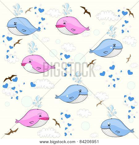 cute whales. Children's seamless background. vector