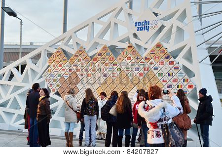 Wall with Olympic medals in Olympic park, Sochi, Russian Federation