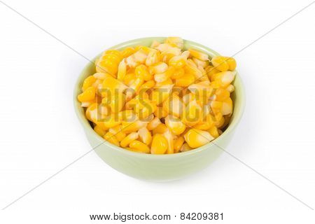Sweet Corn In Green Bowl Ready For Eat