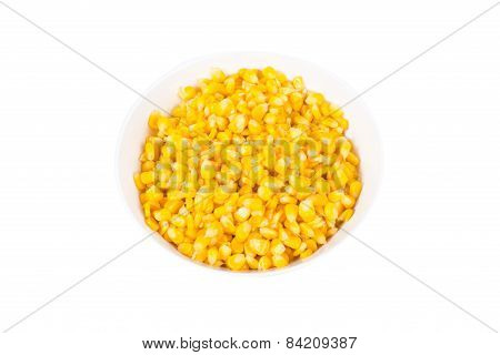 Sweet Corn In White Bowl Ready For Eat