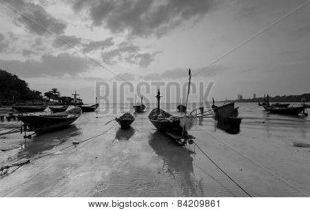 The Fishing Boat With A Beautiful Sunset In Black And White, Thailand