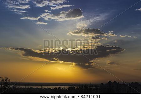 Sky With The Sun Behind A Cloud