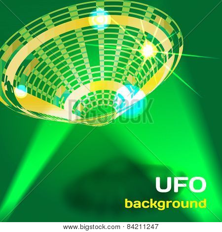 Background with a flying saucer UFO aliens with space for text