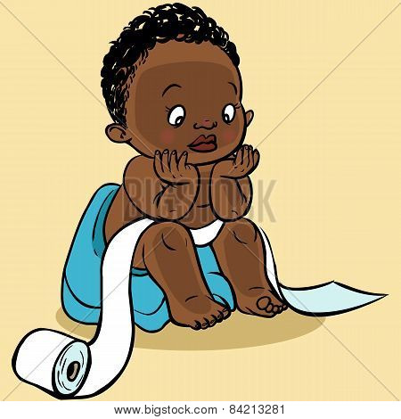 Cute Cartoon Baby In The Toilet.vector Illustration