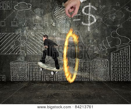 Businessman Skating On Money Skateboard Through Fire Circle With Doodles