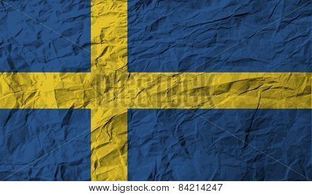 Flag Of Sweden With Old Texture. Vector