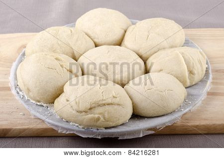 Freshly Baked Rolls On Baking Tray