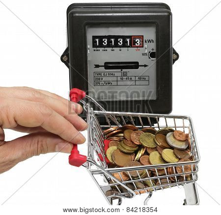 Hand Pushes A Cart Of Money To Pay The Electricity Bills