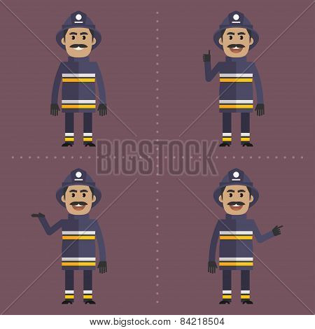 Firefighter in various poses