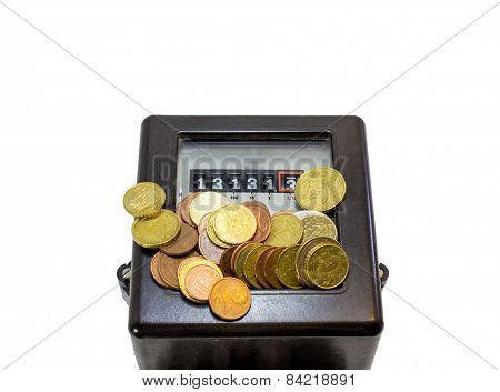 Thirteen Numbers And Electricity Meter And European Currencies